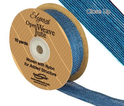 Eleganza Open Weave Jute 25mm x 9.1m (10yds) Aqua - Ribbons