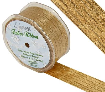 Eleganza Satin Wired Edge Festive Shimmer Design No.377 Gold No.65 38mm x 9.1m - Christmas Ribbon