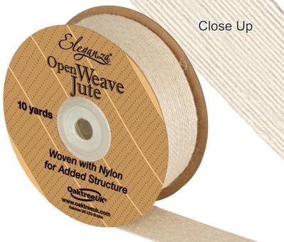 Eleganza Open Weave Jute 38mm x 9.1m (10yds) Ivory No.61 - Ribbons