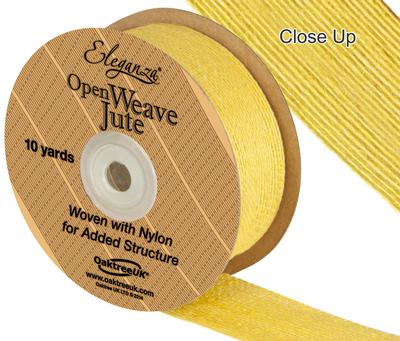 Eleganza Open Weave Jute 38mm x 9.1m (10yds) Yellow No.11 - Ribbons