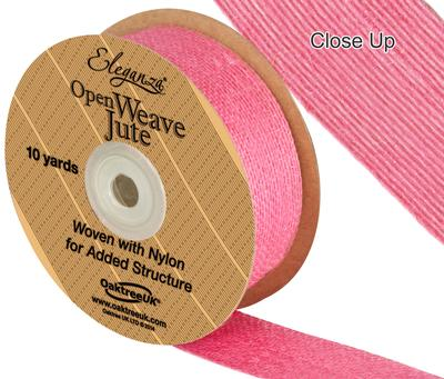 Eleganza Open Weave Jute 38mm x 9.1m (10yds) Hot Pink No.34 - Ribbons