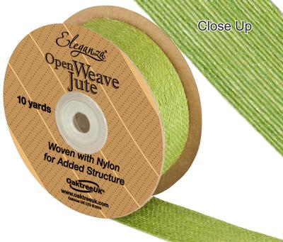 Eleganza Open Weave Jute 38mm x 9.1m (10yds) Pistachio No.27 - Ribbons