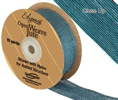 Eleganza Open Weave Jute 38mm x 9.1m (10yds) Teal No.56 - Ribbons