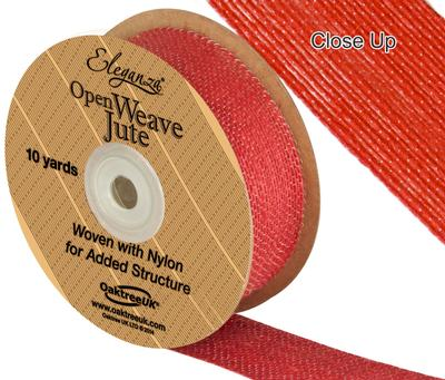 Eleganza Open Weave Jute 38mm x 9.1m (10yds) Red No.16 - Ribbons
