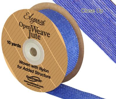 Eleganza Open Weave Jute 38mm x 9.1m (10yds) Blue No.18 - Ribbons