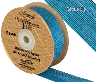Eleganza Open Weave Jute 38mm x 9.1m (10yds) Aqua No.26 - Ribbons