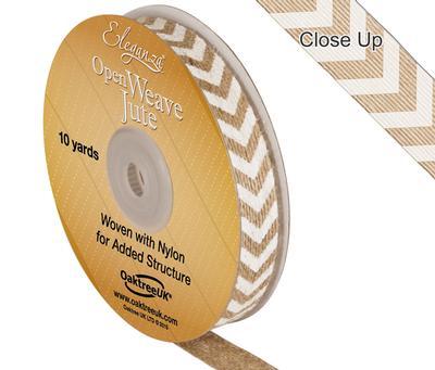 Eleganza Open Weave Jute Chevron Print 15mm x 10 yards White No.01 - Ribbons