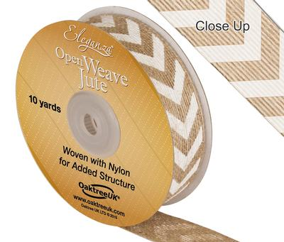 Eleganza Open Weave Jute Chevron Print 25mm x 10 yards White No.01 - Ribbons