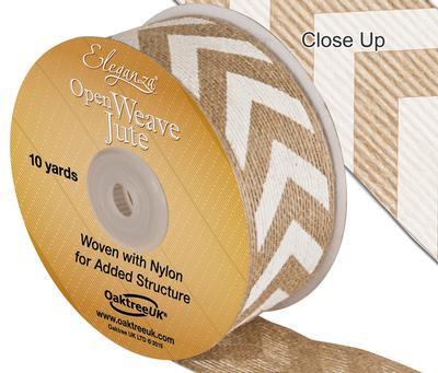 Eleganza Open Weave Jute Chevron Print 38mm x 10 yards White No.01 - Ribbons