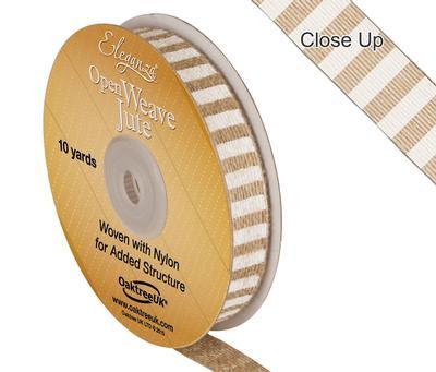 Eleganza Open Weave Jute Line Print 15mm x 10 yards White No.01 - Ribbons