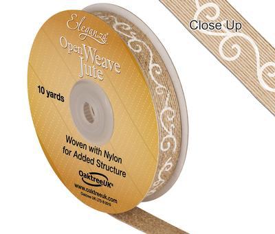 Eleganza Open Weave Jute Filigree Print 15mm x 10 yards White No.01 - Ribbons