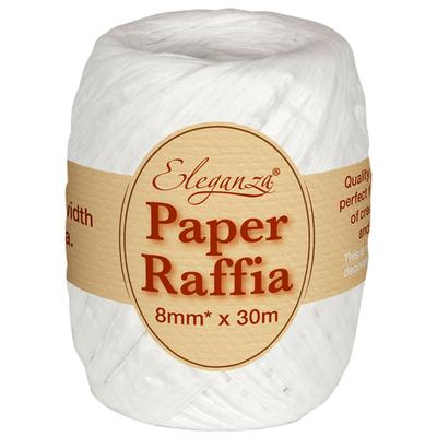 Eleganza Paper Raffia 8mm x 30m No.01 White - Ribbons