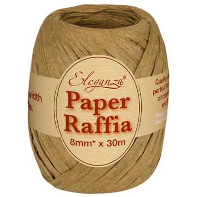 Eleganza Paper Raffia 8mm x 30m No.76 Tan - Ribbons