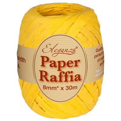 Eleganza Paper Raffia 8mm x 30m No.11 Yellow - Ribbons