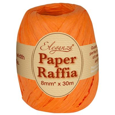 Eleganza Paper Raffia 8mm x 30m No.04 Orange - Ribbons