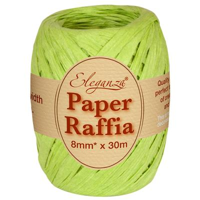 Eleganza Paper Raffia 8mm x 30m No.14 Lime Green - Ribbons