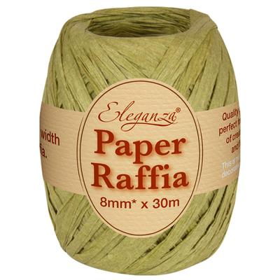Eleganza Paper Raffia 8mm x 30m No.51 Sage Green - Ribbons