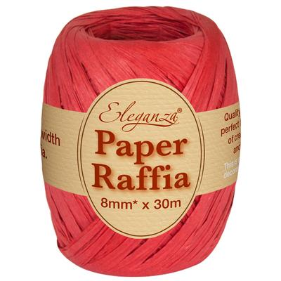 Eleganza Paper Raffia 8mm x 30m No.16 Red - Ribbons