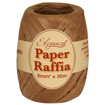 Eleganza Paper Raffia 8mm x 30m No.58 Chocolate - Ribbons