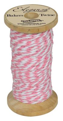 Eleganza Bakers Twine Wooden Spool 2mm x 15m Lt. Pink No.21 - Ribbons