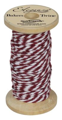 Eleganza Bakers Twine Wooden Spool 2mm x 15m Burgundy No.17 - Ribbons
