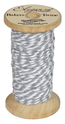 Eleganza Bakers Twine Wooden Spool 2mm x 15m Silver No.24 - Ribbons
