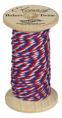 Eleganza Bakers Twine Wooden Spool 2mm x 15m Red/White/Blue - Ribbons