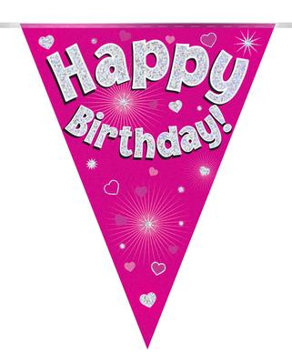 Party Bunting Happy Birthday Pink Holographic 11 flags 3.9m - Banners & Bunting