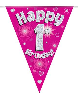 Party Bunting Happy 1st Birthday Pink Holographic 11 flags 3.9m - Banners & Bunting