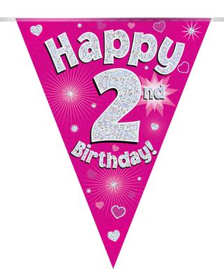 Party Bunting Happy 2nd Birthday Pink Holographic 11 flags 3.9m - Banners & Bunting