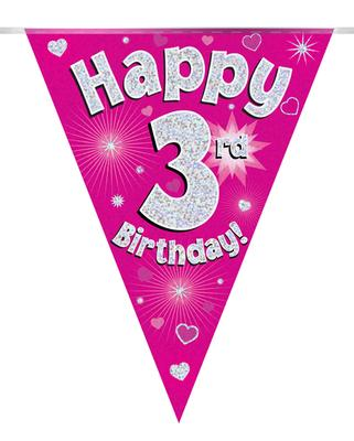 Party Bunting Happy 3rd Birthday Pink Holographic 11 flags 3.9m - Banners & Bunting