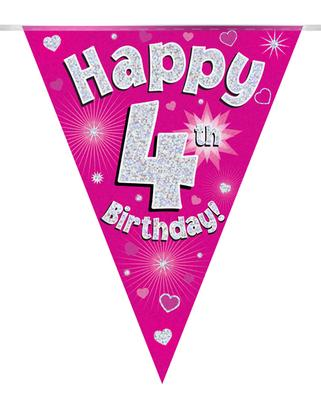 Party Bunting Happy 4th Birthday Pink Holographic 11 flags 3.9m - Banners & Bunting