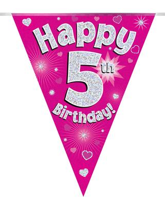 Party Bunting Happy 5th Birthday Pink Holographic 11 flags 3.9m - Banners & Bunting