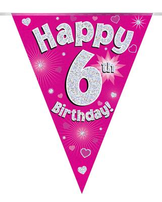 Party Bunting Happy 6th Birthday Pink Holographic 11 flags 3.9m - Banners & Bunting