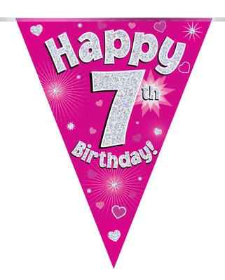 Party Bunting Happy 7th Birthday Pink Holographic 11 flags 3.9m - Banners & Bunting