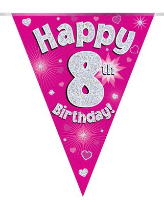 Party Bunting Happy 8th Birthday Pink Holographic 11 flags 3.9m - Banners & Bunting