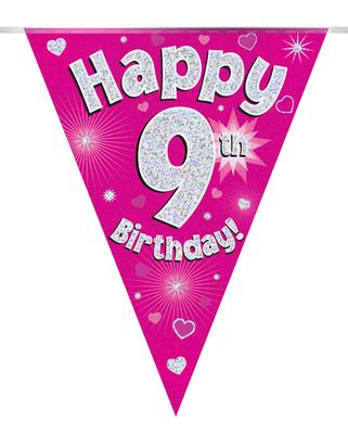 Party Bunting Happy 9th Birthday Pink Holographic 11 flags 3.9m - Banners & Bunting