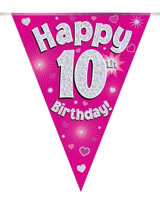 Party Bunting Happy 10th Birthday Pink Holographic 11 flags 3.9m - Banners & Bunting