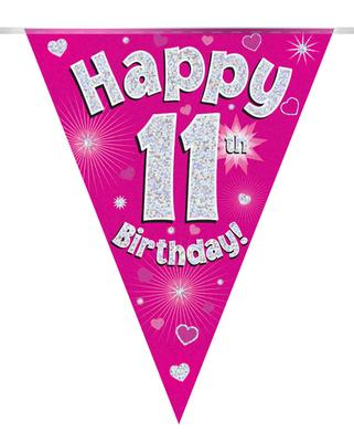 Party Bunting Happy 11th Birthday Pink Holographic 11 flags 3.9m - Banners & Bunting