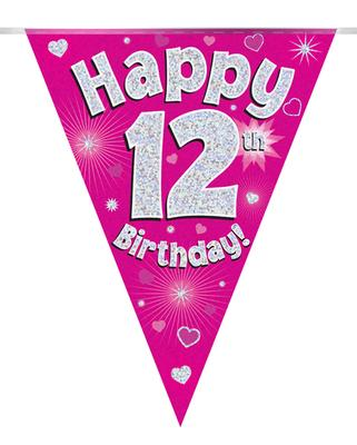 Party Bunting Happy 12th Birthday Pink Holographic 11 flags 3.9m - Banners & Bunting