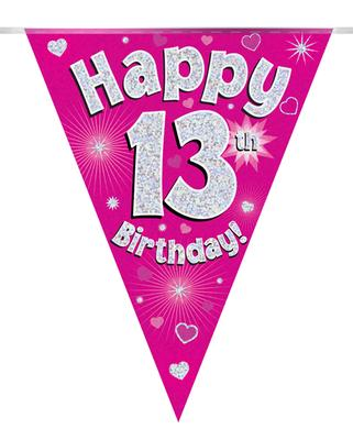 Party Bunting Happy 13th Birthday Pink Holographic 11 flags 3.9m - Banners & Bunting