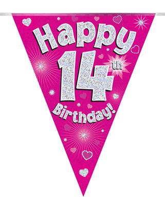 Party Bunting Happy 14th Birthday Pink Holographic 11 flags 3.9m - Banners & Bunting