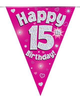 Party Bunting Happy 15th Birthday Pink Holographic 11 flags 3.9m - Banners & Bunting