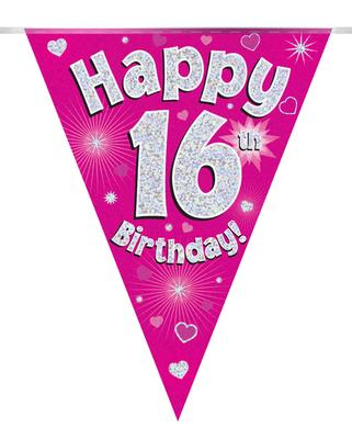 Party Bunting Happy 16th Birthday Pink Holographic 11 flags 3.9m - Banners & Bunting