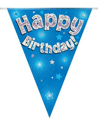 Party Bunting Happy Birthday Blue Holographic 11 flags 3.9m - Banners & Bunting
