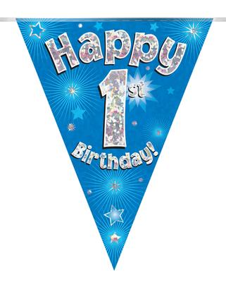 Party Bunting Happy 1st Birthday Blue Holographic 11 flags 3.9m - Banners & Bunting