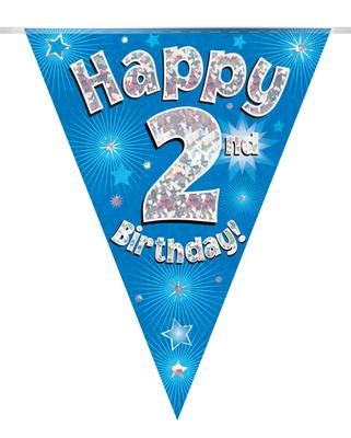Party Bunting Happy 2nd Birthday Blue Holographic 11 flags 3.9m - Banners & Bunting