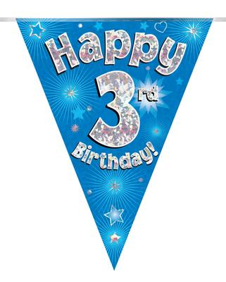 Party Bunting Happy 3rd Birthday Blue Holographic 11 flags 3.9m - Banners & Bunting