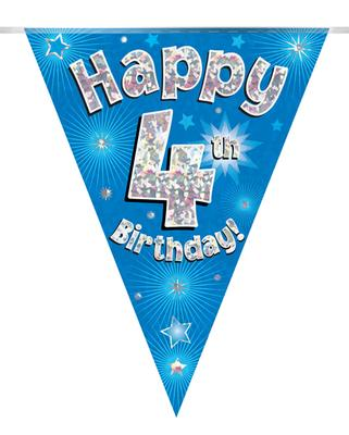Party Bunting Happy 4th Birthday Blue Holographic 11 flags 3.9m - Banners & Bunting