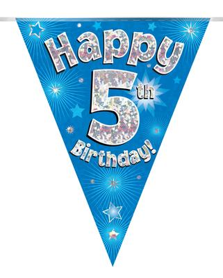 Party Bunting Happy 5th Birthday Blue Holographic 11 flags 3.9m - Banners & Bunting